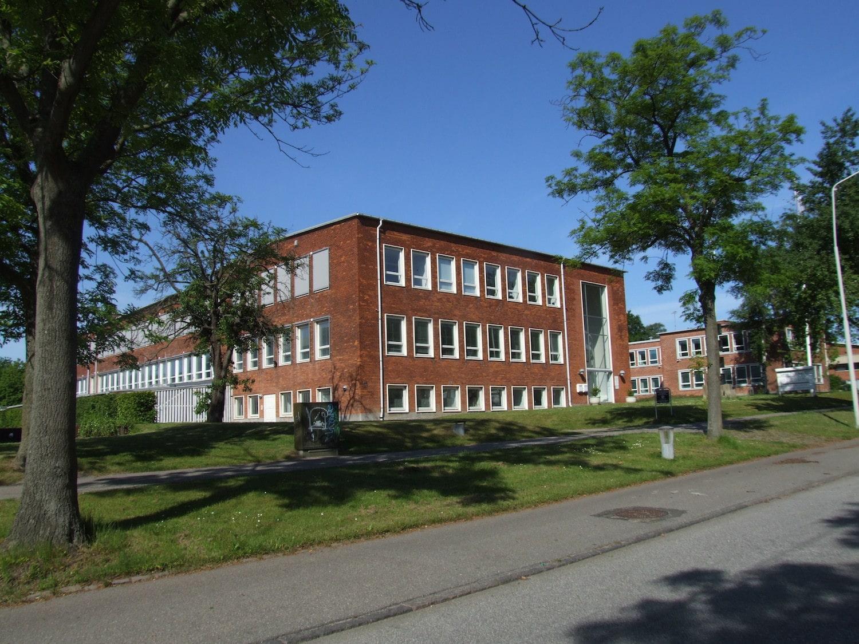 Bygningen i grønne omgivelser